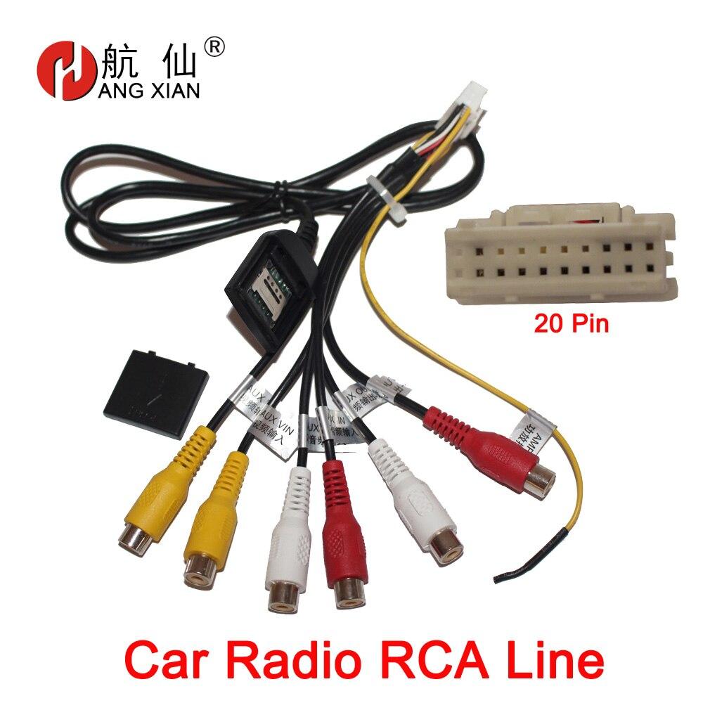 HANGXIAN 20 broches prise autoradio RCA sortie AUX faisceau de câbles connecteur de câblage adaptateur câble subwoofer avec fente pour carte SIM 4G