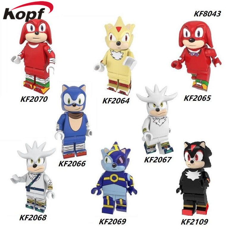 Single Sale Building Blocks Super Heroes MinifigurINED Sonic Knuckles Silver The Hedgehog Anima Figures For Kids Toys KF8043