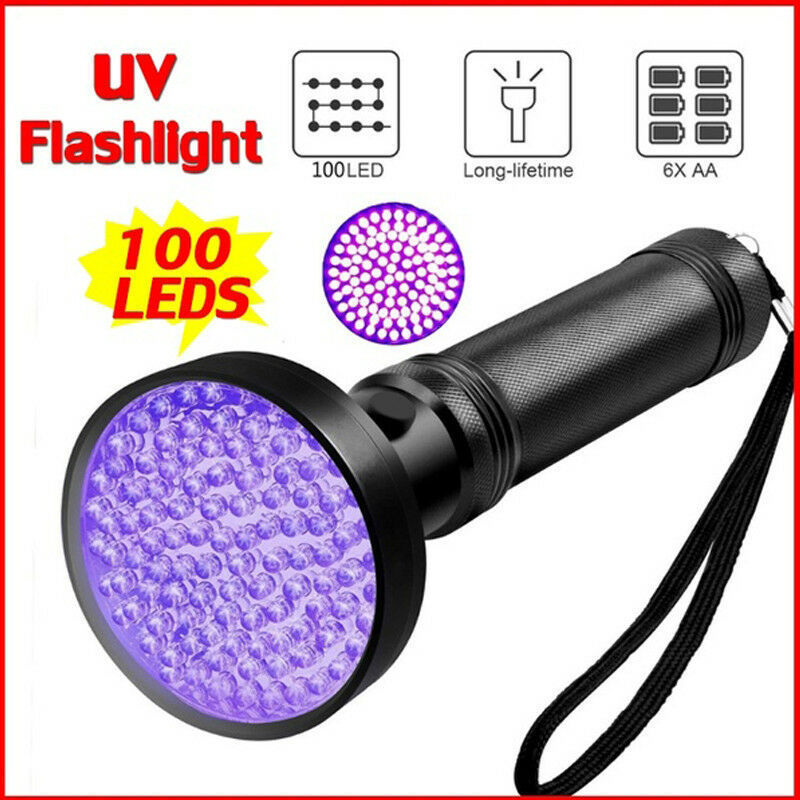 100uv LED Purple Flashlight Inspection Lamp Torch  - Black Single Flashlight