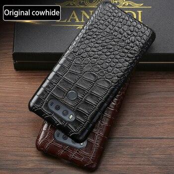 Telefon etui na lg g6 g7 g8 przypadku G3 G4 G5 G8s ThinQ V10 V20 V30 V40 V50 Thinq Q6 Q7 Q8 K4 K8 2017 prawdziwe skóry krokodyla wzór