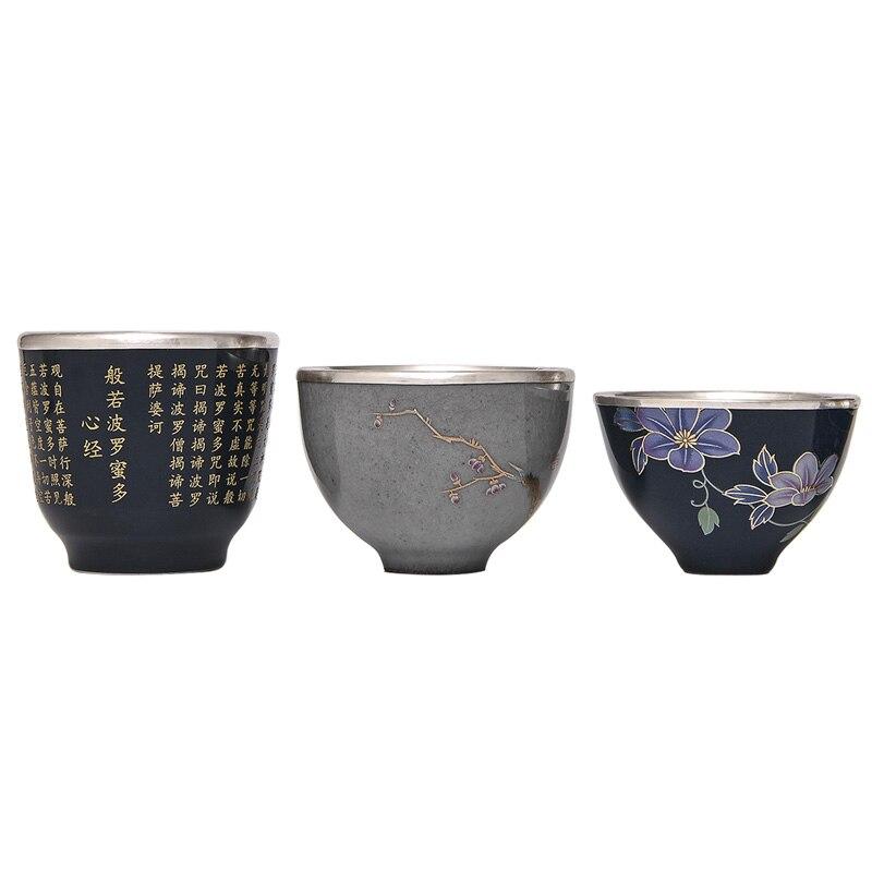 Sac en porcelaine argent 999 thé en argent sterling Kung Fu service à thé en argent bleu et blanc tasse à thé en porcelaine tasse en argent sterling - 5