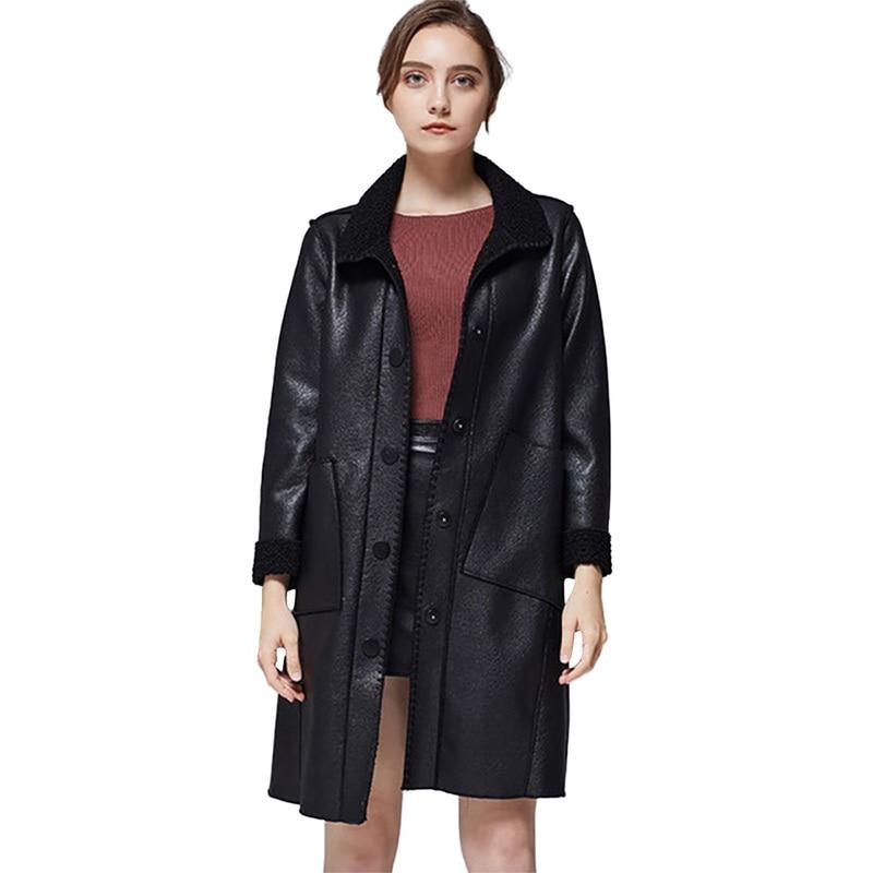Faux   Leather   Coats Women Plus Size Casual Long Sleeve Single Breasted Streetwear Black Pu   Leather   Coat Biker Coat   Suede   Femme
