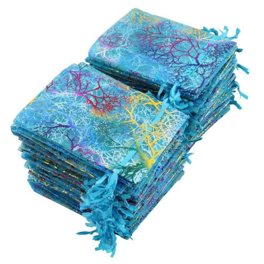 10 шт./лот, 7x9 см, 9x12 см, 10x15 см, цветные сумки из органзы, упаковка для ювелирных изделий, свадебные подарочные сумки, сумки на шнурке