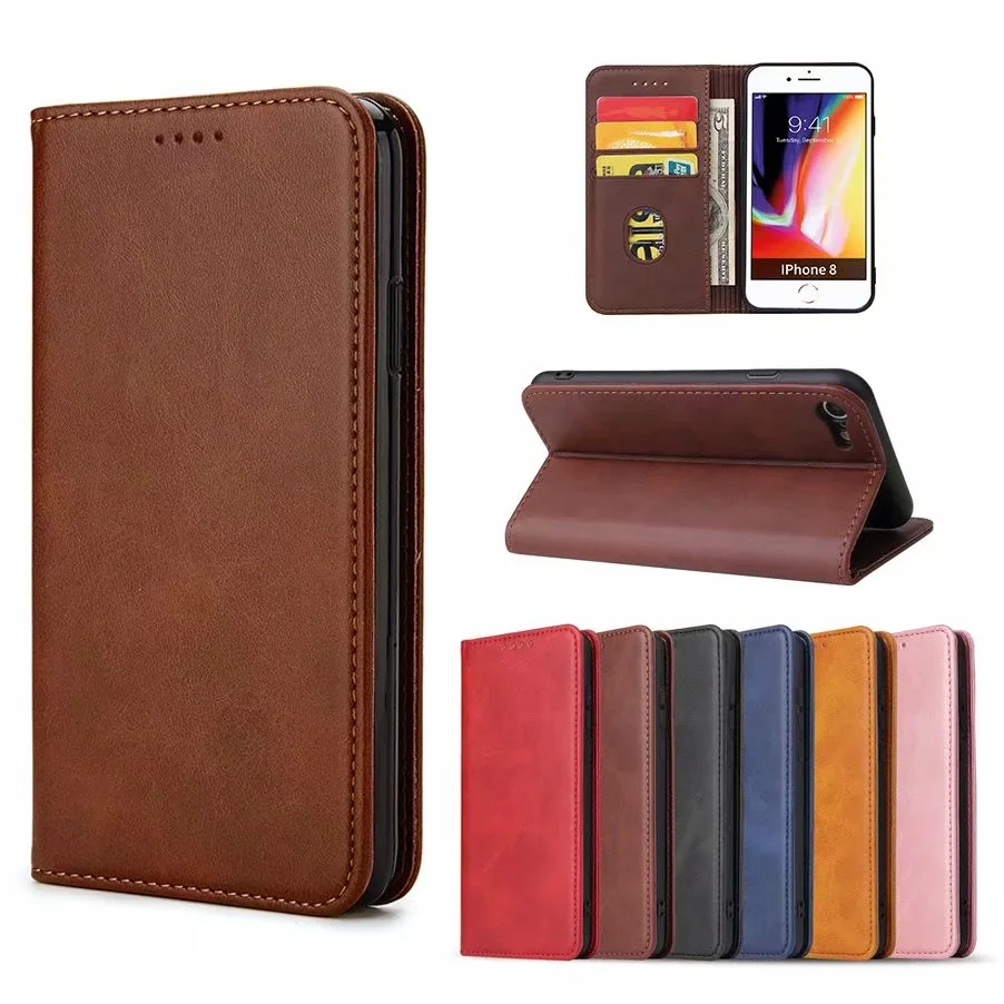 Leather Case for iPhone 12 Mini 11 Pro XS Max XR Phone Wallet Bag Flip Magnetic Cover for iphone 8 7 6s 6Plus SE 2020 Ultra Thin