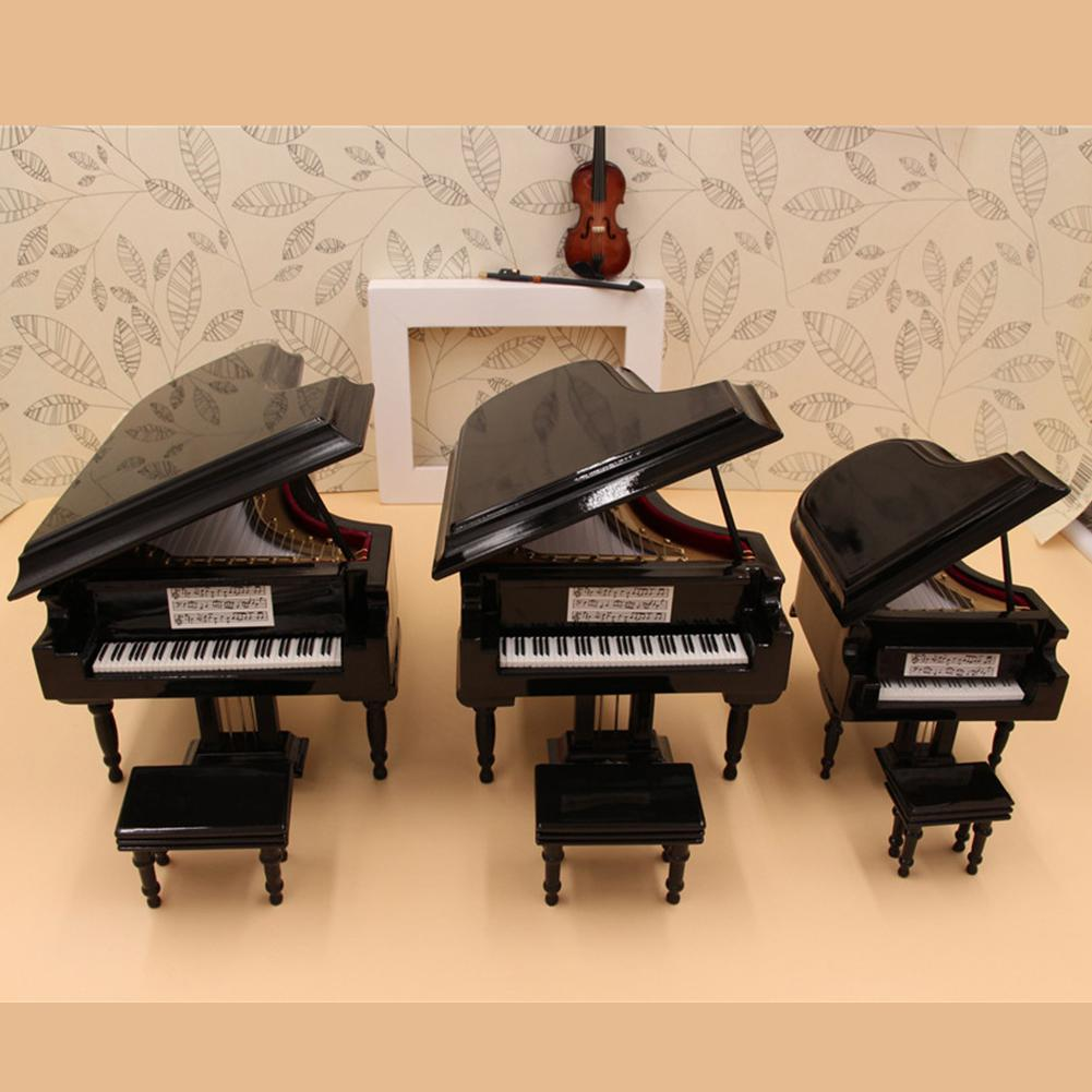 Miniature Piano Model Replica Mini Piano Musical Instrument Ornaments Display With Black Leather Box  Piano Stool  Gifts