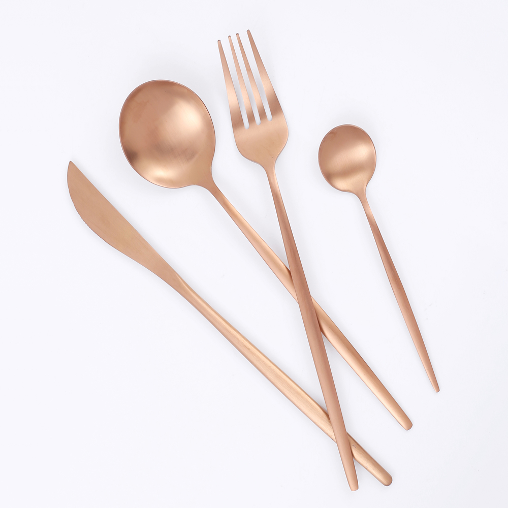 36Pcs Matte Stainless Steel Cutlery Set Dinnerware Gold Knife Fork Dessert Spoon Silverware Kitchen Party Dinner Tableware