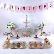 Cake-Stand-Set Table-Decoration Baking-Tool Wedding Gold-Plated Mirror Crystal-Beads