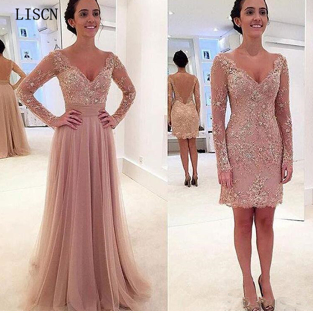 Vestidos Tulle Sexy Formal Party Dress Crystal Backless Vintage Removable Skirt V Neck Long Sleeve Sheath Appliques Prom Gowns
