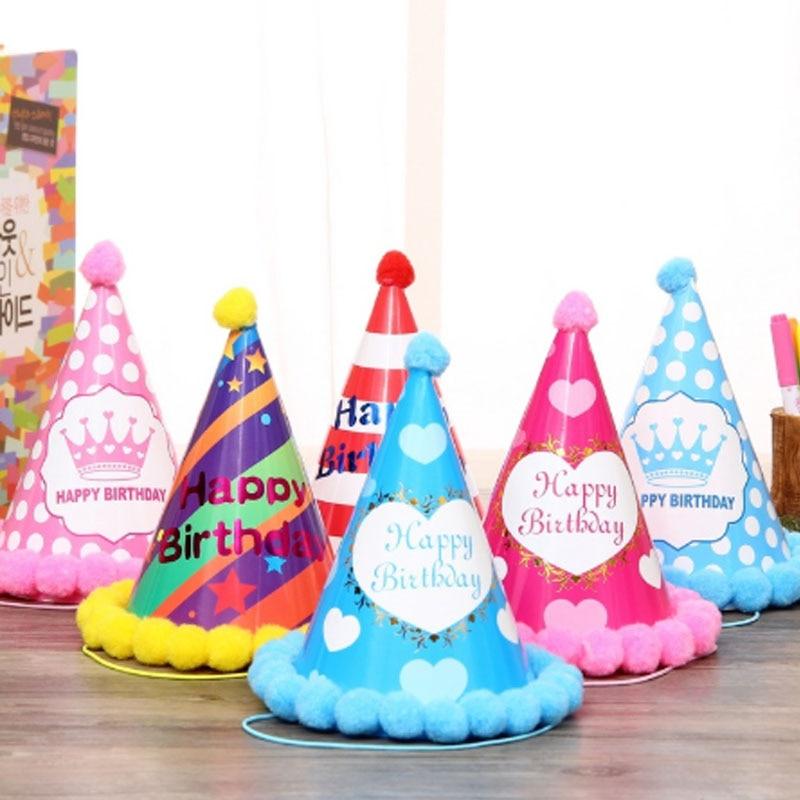2Pcs Birthday Children Kid Rainbow Birthday Party Hat Chlid Crown Decoration Paper Cap Cartoon Pattern Festival Colorful Hat