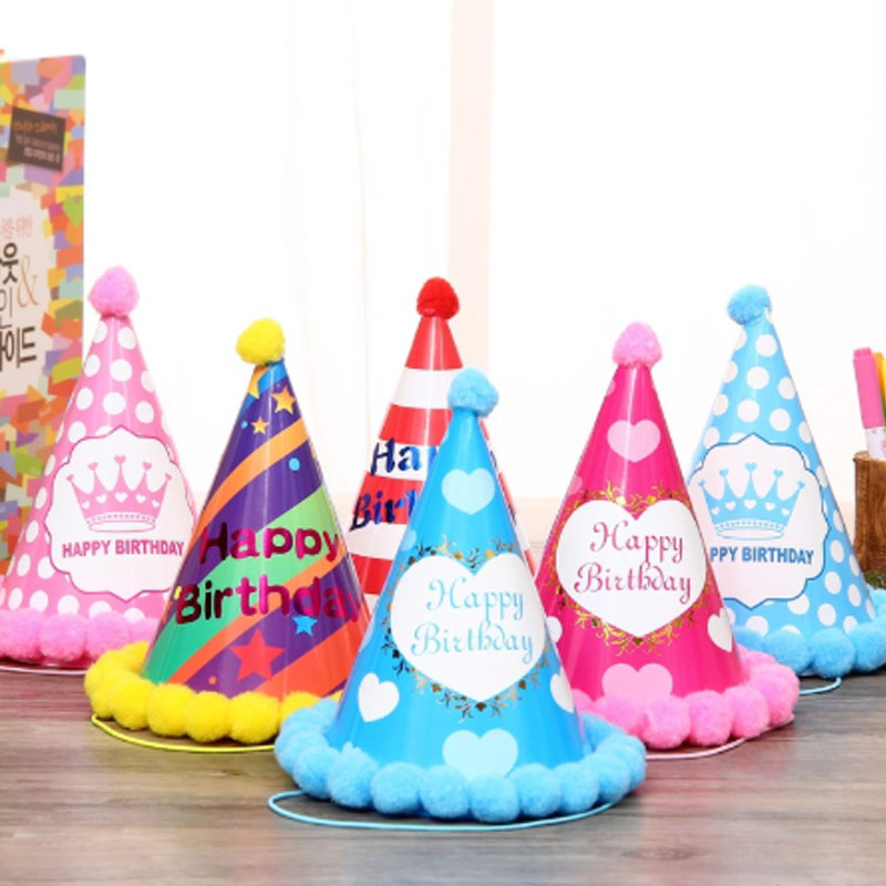 Birthday Children Kid Rainbow Birthday Party Hat Chlid Crown Decoration Paper Cap Cartoon Pattern Festival Colorful Hat