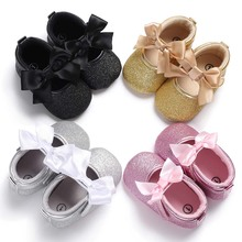 Baby Shoes Bow Knot Newborn Baby Girls Shoes Fashion Princess First Walker Babe Crib Shoe Infant Shining Ballet Dance Mary Jane цена