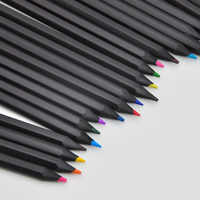 12 /24 Different Colours Colored Pencils Kawaii School Black Wooden Pencil for Drawing Colored Pencils Office School Stationery