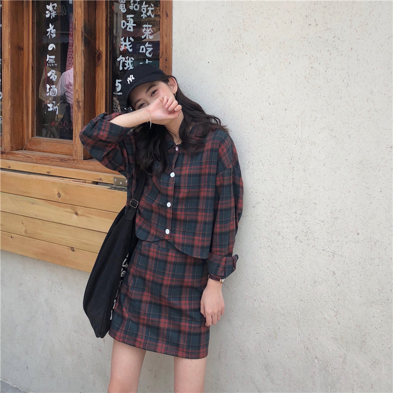 College Style Japanese Harajuku Outfit Cute Polo Vintage Plaid Full Sleeve Shirt High Waist A-Line Slim Skirt Kawaii Sweet Suit