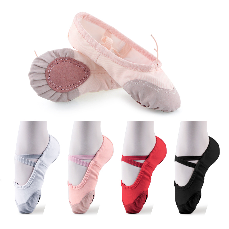 High Quality New Canvas Women Kids Ballet Dance Shoes For Girls Bailarinas Zapatos 23-42 Size Pink Black Nude Red White Shoe