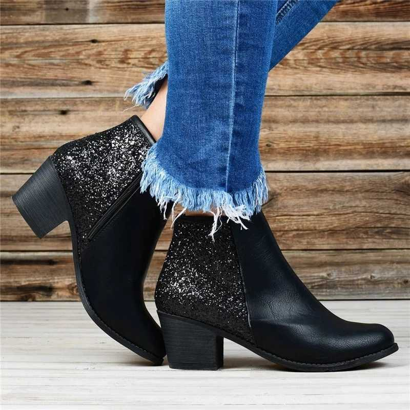 Phụ Nữ Thu Đông Giày Ponited Mũi Giày Miếng Dán Cường Lực ĐÍNH HẠT CƯỜM Boot Khóa Dây Giày Gót Vuông Nêm Boot