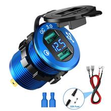 Dual USB Charger Socket Adapter LED Display Car Charger Adapter For DC 12/24V Motorcycle Boat Marine ATV RV
