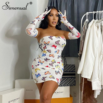Simenual Butterfly Fashion Women Mini Dress With Gloves Backless Criss Cross Sexy Party Clubwear Bodycon Skinny Dresses Summer цена 2017
