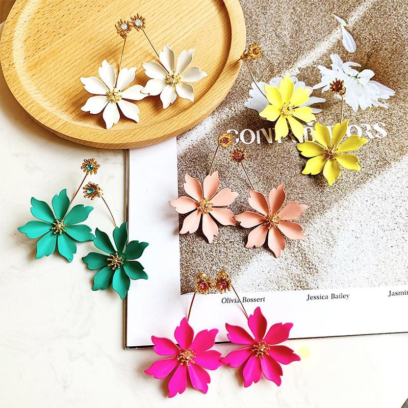 Flower Korean Earrings For Women Fashion Jewelry Accessories Long Stud Earrings Bohemian Boho Earrings Boucle D'oreille