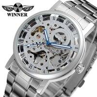 Saatler'ten Mekanik Saatler'de Kazanan marka roma numarası İskelet otomatik mekanik saatler gümüş paslanmaz çelik erkek kol saati hediye kutusu Relogio Releges