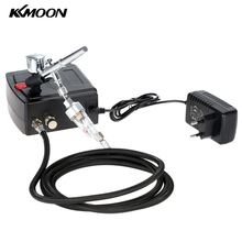 Kkmoon 100-240V Airbrush Spuitpistool Zwaartekracht Feed Dual Action Airbrush Compressor Kit Voor Art Schilderen Manicure air Brush