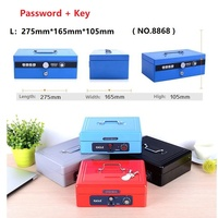 27.5cm*16.5cm*10.5cm Portable Code Lock Large Metal Vault Mini Cash Boxes Password Safe Deposit Key Box