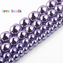 цена 3/4/6/8/10mm Natural Stone Purple Plated Hematite Beads Round Loose Spacer Bead For Jewelry Making DIY Bracelet Necklace 15