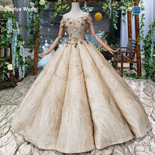 HTL242 suknie wieczorowe swollen prom dress sweetheart beads laced up evening dresses ball gown shiny queen occasion dress long(China)