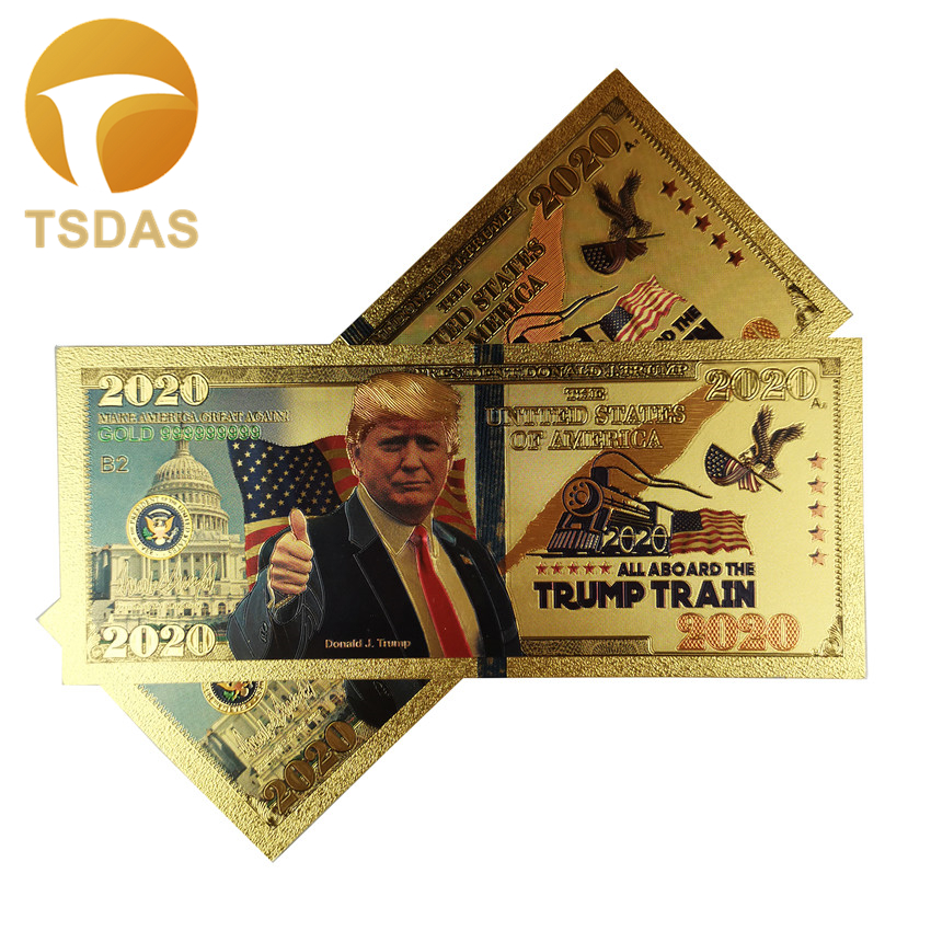 US Donald Trump Commemorative Banknotes 2020 President Gold Foil Banknote 10pcs/lot Drop Shipping image