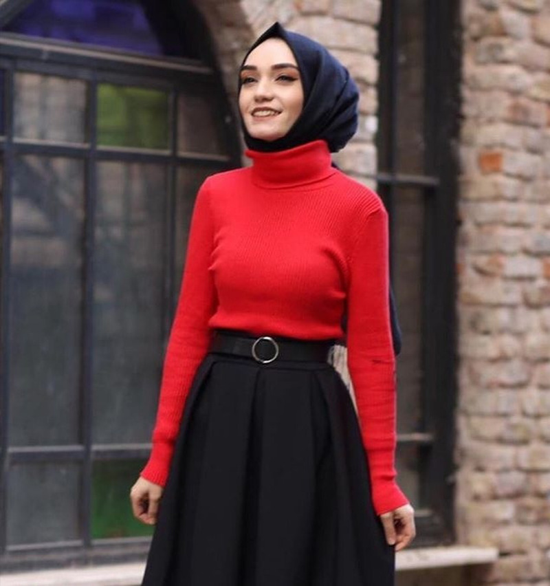 Turkey Muslim Knit Turtleneck Sweater Women Solid Collar Long Sleeve Basic Tops Sweaters Dubai Sweet Knitwear Islamic Clothing