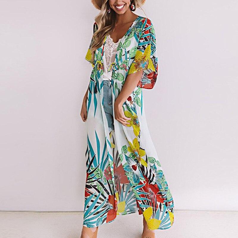 Новинка, длинное пляжное платье с цветочным принтом, накидка для пляжа, купальник, накидка, туники, саронг, женский халат для бикини, накидка