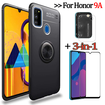 3-in-1 Phone Cases + Camera Glass for Honor9A/MOA-LX9N Magnetic Ring Silicone Cover Honor9 A Honor-9 A Huawei Y6P Case Honor 9A