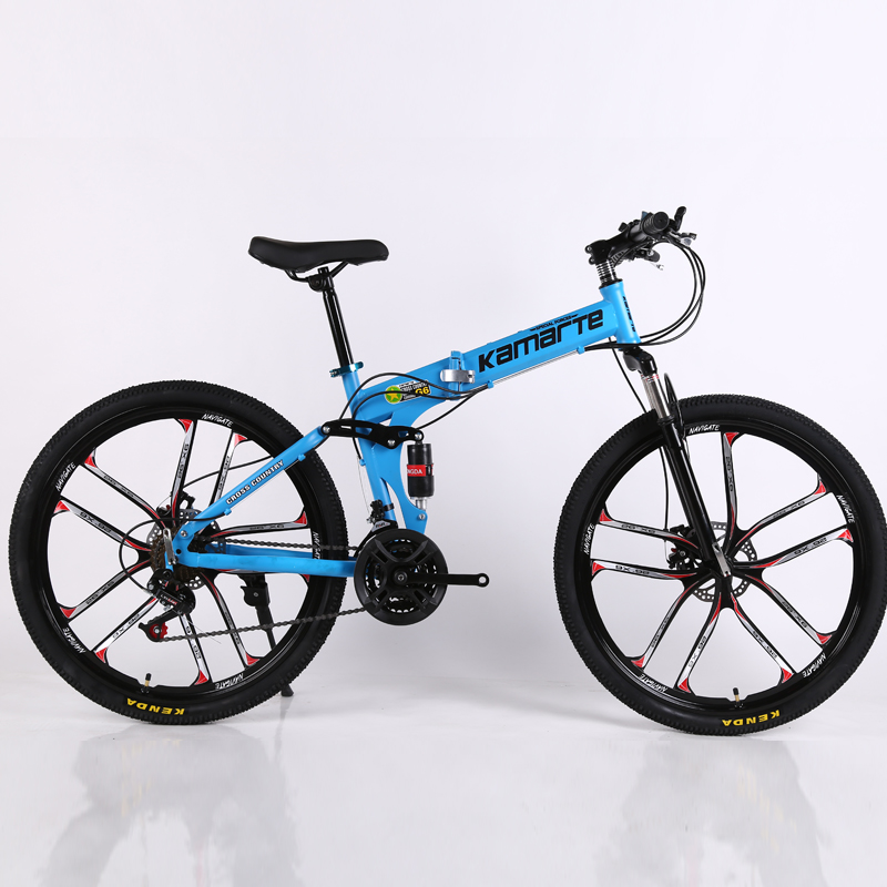 30 Speed Folding Mountain Bike 24 26 Inch 3/6/10 Knife Wheel High Carbon Steel Double Disc Brake Adult Outdoor Mountain Bicycle