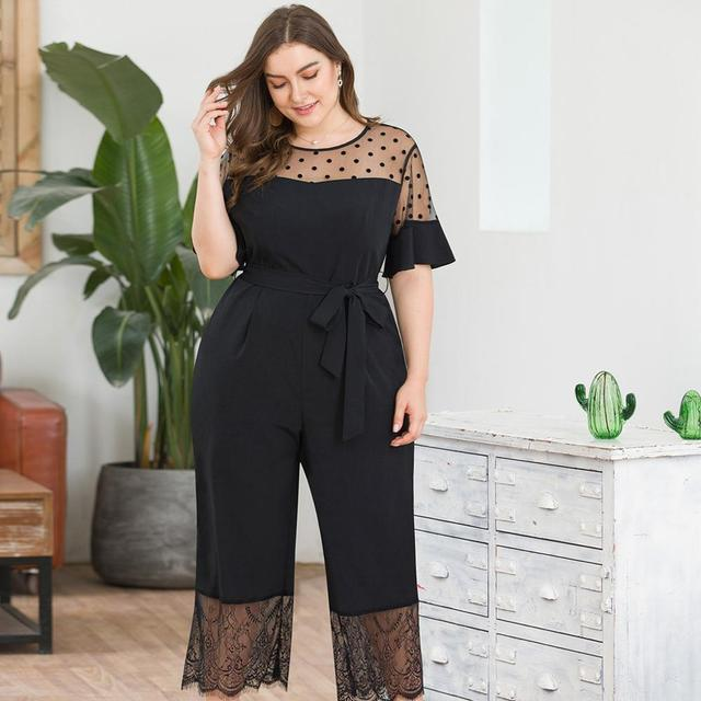2019 Fashion Casual Solid Jumpsuit Women's Plus Size Short-Sleeved Mesh Stitching Lace Wide Leg One-piece Pants Mameluco Mujer Y 1