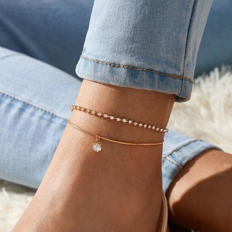2021 Bohemian Beads Anklets for Women Boho Cubic Zirconia Anklet Bracelet on Leg Anklet Jewelry Gift