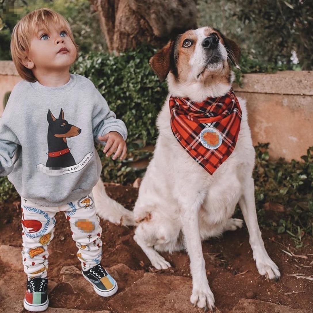2021 New Spring Mini Brand Kids Sweatshirt Dog Cartoon Long Sleeve T-Shirts Boys Girls Casual Tops Tee Children Baby Clothes 2