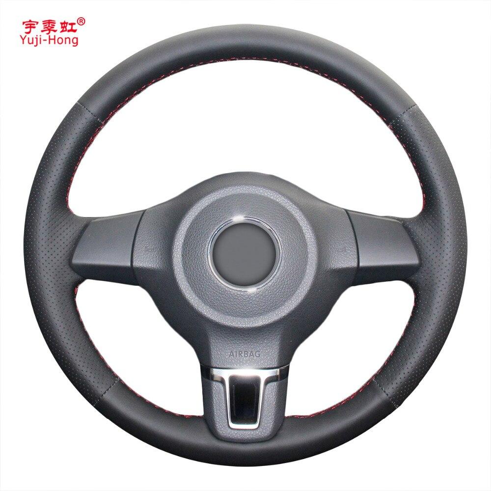 Yuji-Hong чехол рулевого колеса автомобиля чехол из искусственной кожи для Volkswagen VW Golf 6 Santana Jetta Polo камера Bora Touran ручная работа