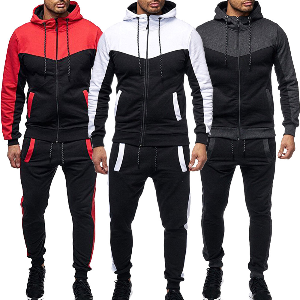 Men's Sport Sets Autumn Winter Packwork Sweatshirt Top Pants Sets Sports Suit Tracksuit 2 Pieces Top And Pants Tracksuit Men#G2