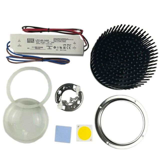 DIY CREE COB CXB3590 led 조명 부품 이상적인 홀더 50 2303CR 핀 핀 방열판 Meanwell 드라이버 100mm 유리 렌즈/반사경