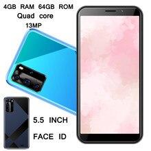 4g ram 64g rom y5p smartphones face id 5mp + 13mp frente/câmera traseira 5.5 polegada wifi telefones celulares quad core desbloqueado versão global