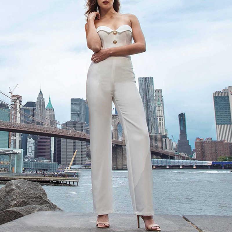 INDRESSME 2019 yeni kadın tulum seksi straplez düğme V boyun tulum kolsuz Romper zarif bayan parti kulübü uzun pantolon