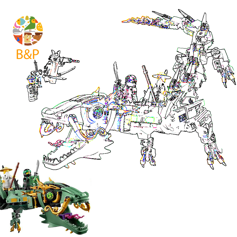 <font><b>70612</b></font> 592pcs Ninja Series The Green flying mecha dragon Model s Brick Educational Toys For Children 10718 Building Block Gift image