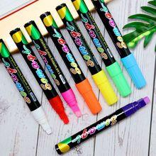 8 8 Colors Highlighter Fluorescent Liquid Chalk Marker Neon Pen For LED Writing Board Blackboard Glass Painting Graffiti Office