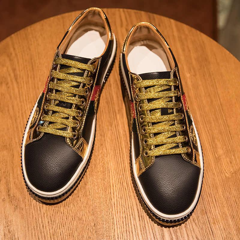 Hakiki deri 2020 çift koşu arı 46 altın erkek spor ayakkabı erkekler Casual erkek Sneakers tıknaz Zapatos De Mujer Hombre kadınlar