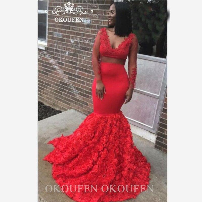 Rose fleurs robe de soirée sirène à manches longues transparent col en V profond noir femmes africaines rouge robes de bal Abendkleider
