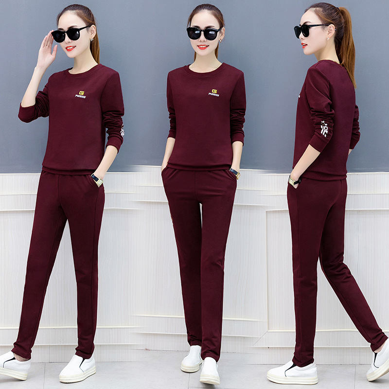 2020 Korean-style Casual Wear Large Size Slimming Two-Piece Set Fashion Sports Set WOMEN'S Dress Spring And Autumn Hoodie Women'
