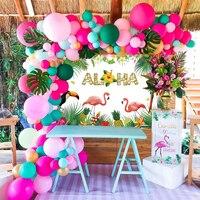 Qifuピンクフラミンゴパーティーの装飾バルーン背景熱帯ハワイパーティーの装飾ハワイ夏の誕生日パーティー用品ルアウアロハ