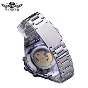 Image 5 - Kazanan klasik serisi altın hareketi çelik erkek İskelet erkek kol saati mekanik üst marka lüks moda otomatik saatler