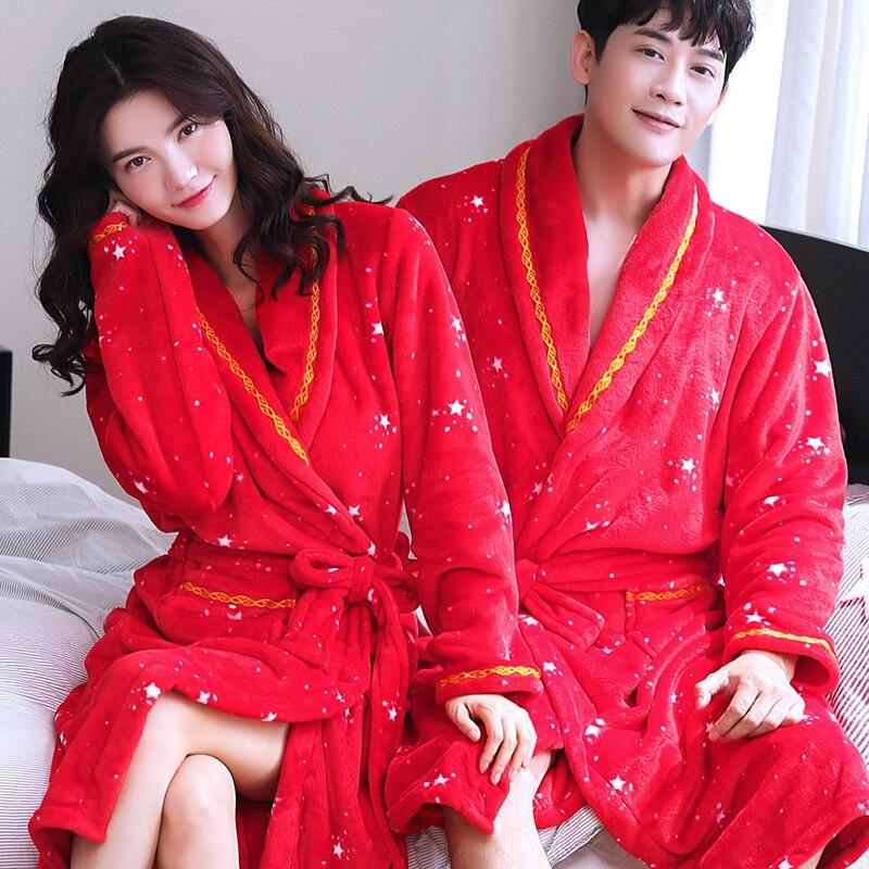 Hiver chaud corail polaire Couples Peignoir maison vêtements à manches longues Robe de bain mâle femme Kimono chemise de nuit Robe de chambre Peignoir