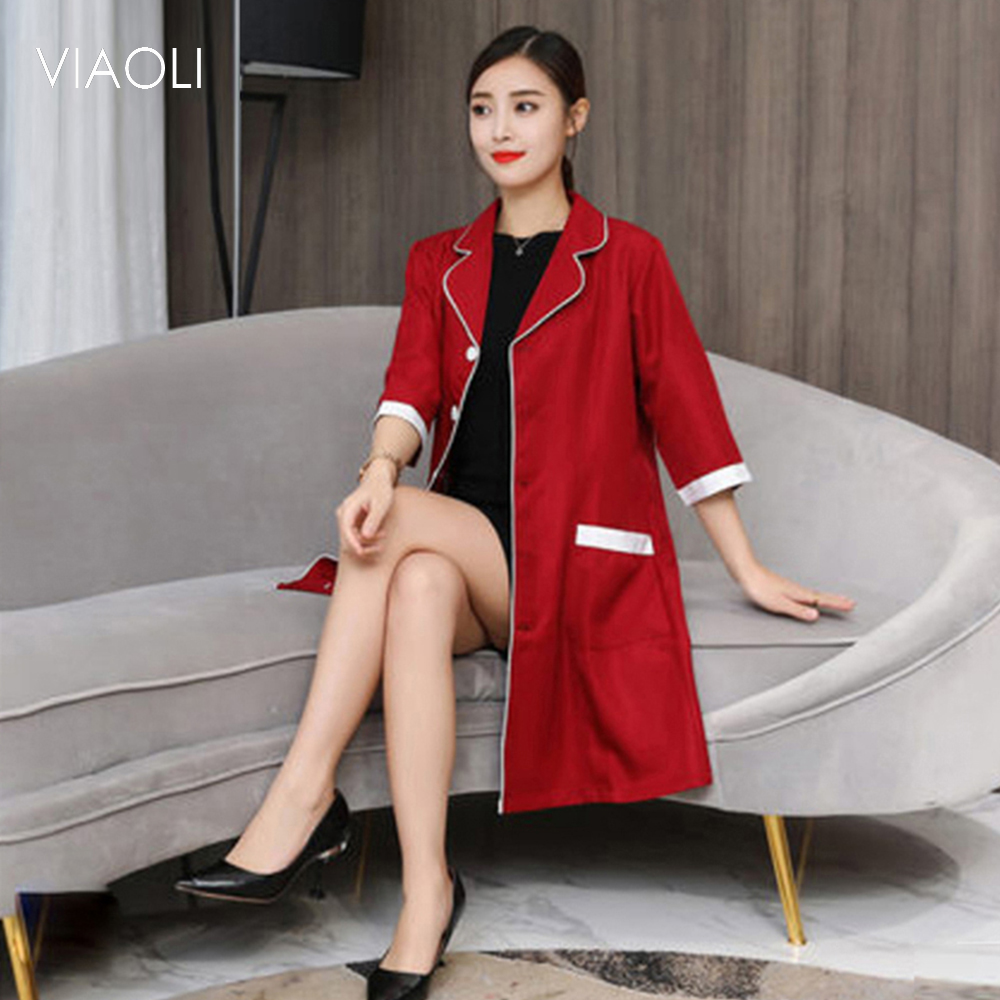 Korea Cosmetic Surgery Clothing Doctor Costume Pharmacist Coat Medical Beauty Uniform Robes Lab Coat Hospital Women Work Dress