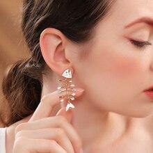 2019 Multicolor Enamel Fishbone Stud Earrings For Women Gifts Gold Color Fashion Jewelry Accessories cute solid color fishbone shape ring for women